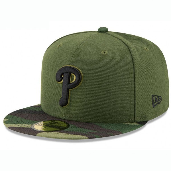 Cap Unisex Philadelphia Phillies New Era MLB Memorial Day 59FIFTY Olive